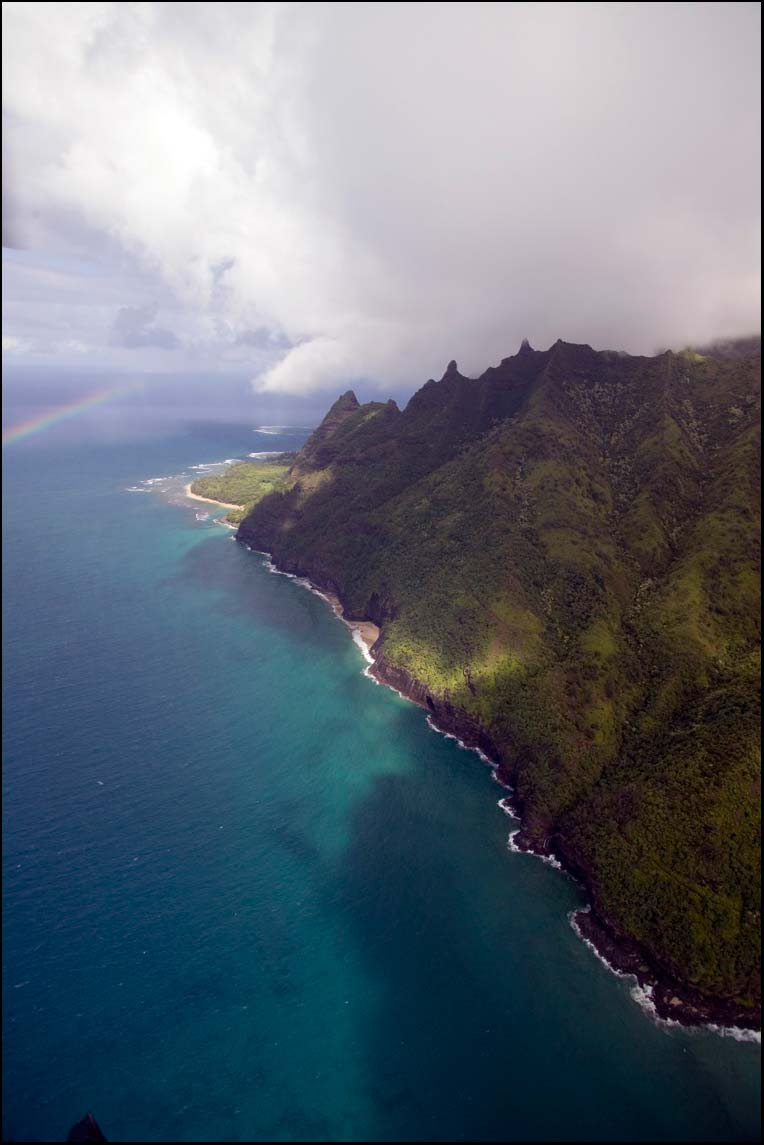 Aerial photography in Kauai Hawaii of the Napali Coast