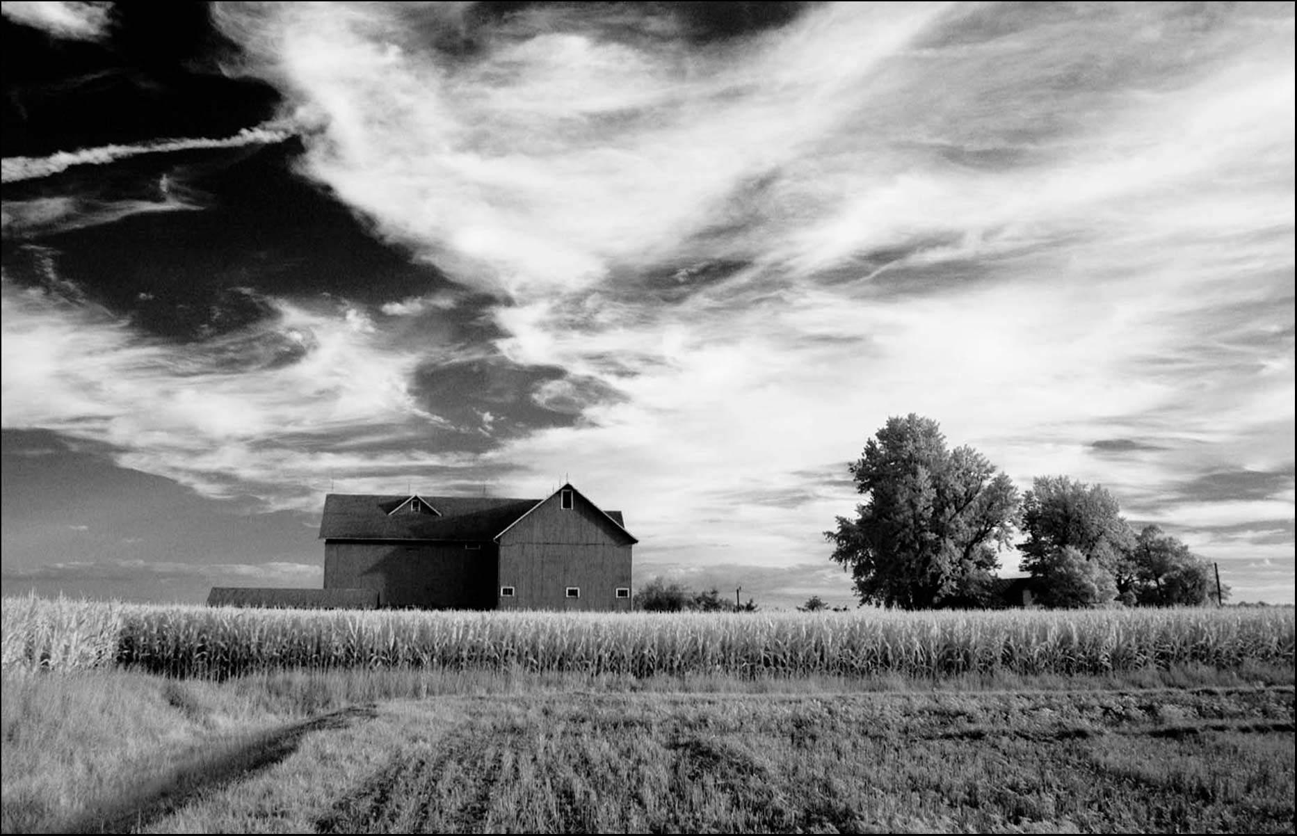 Black and White Infrared image of a barn in Ohio