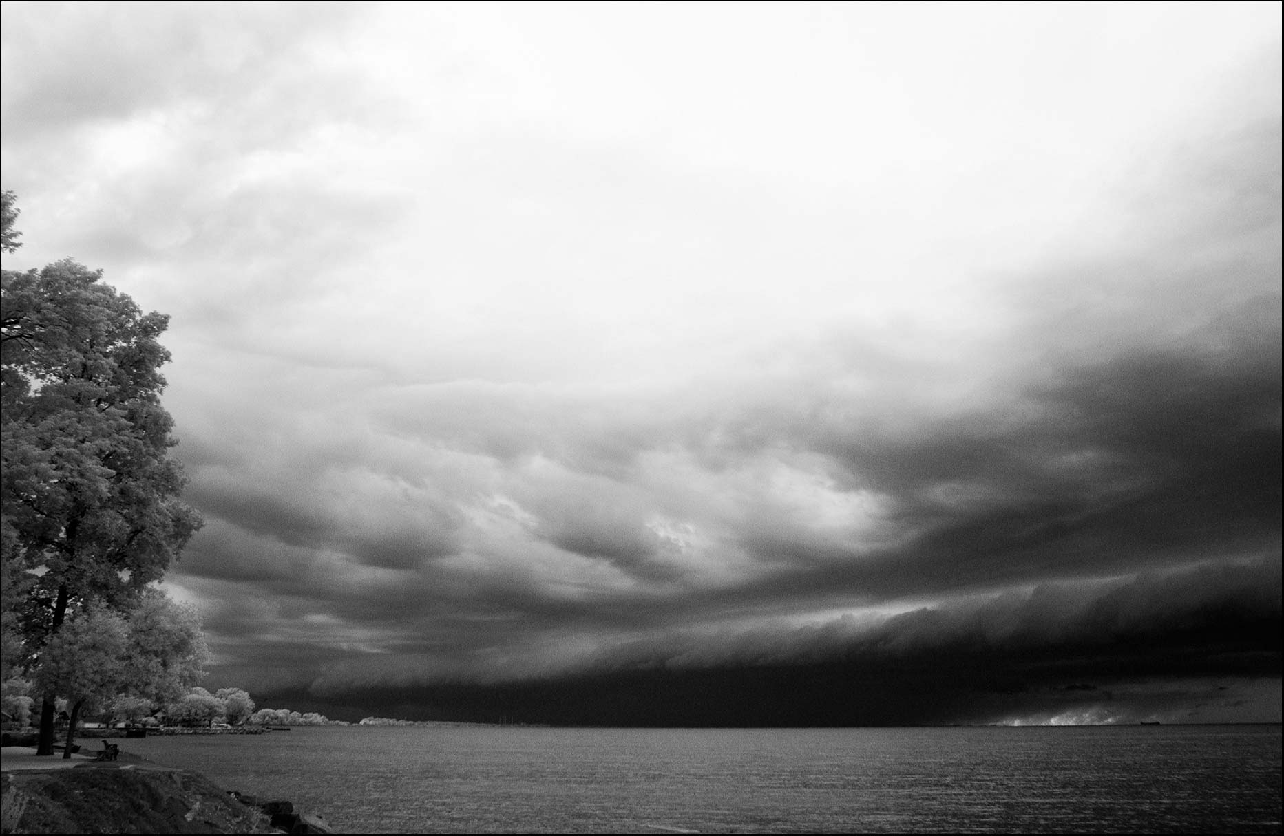 Lake Erie Ohio storm clouds shot in black and white infrared