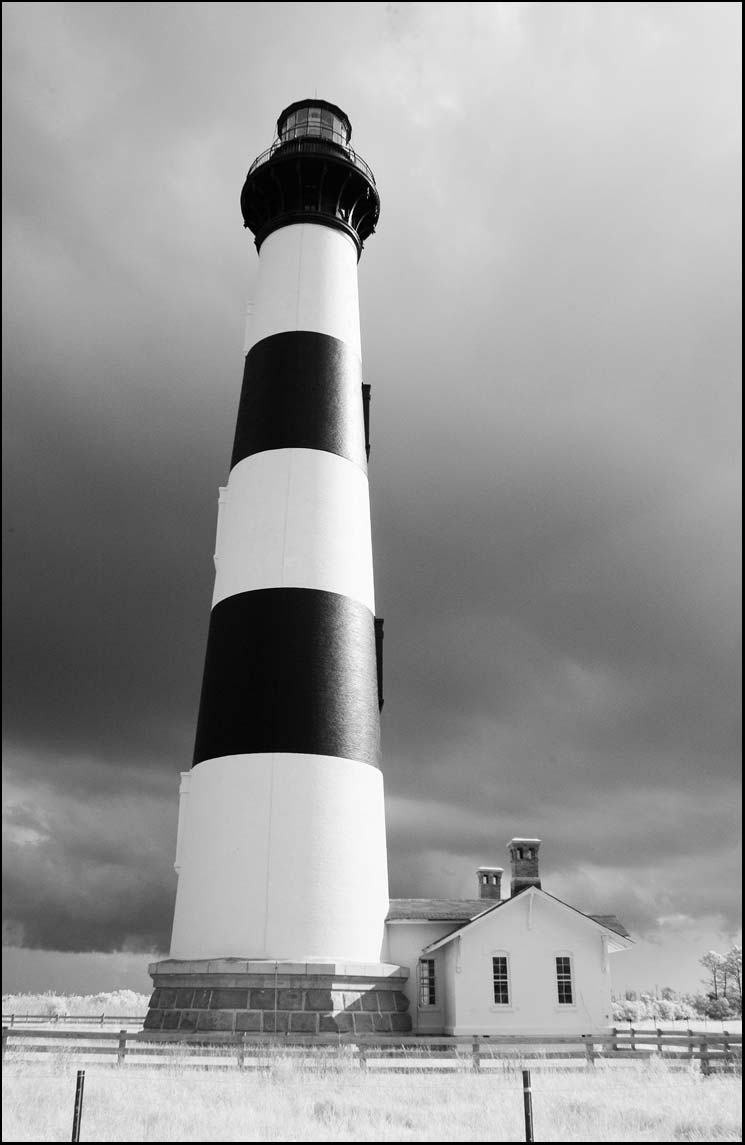 Bodie Island lighthouse Black and white infrared