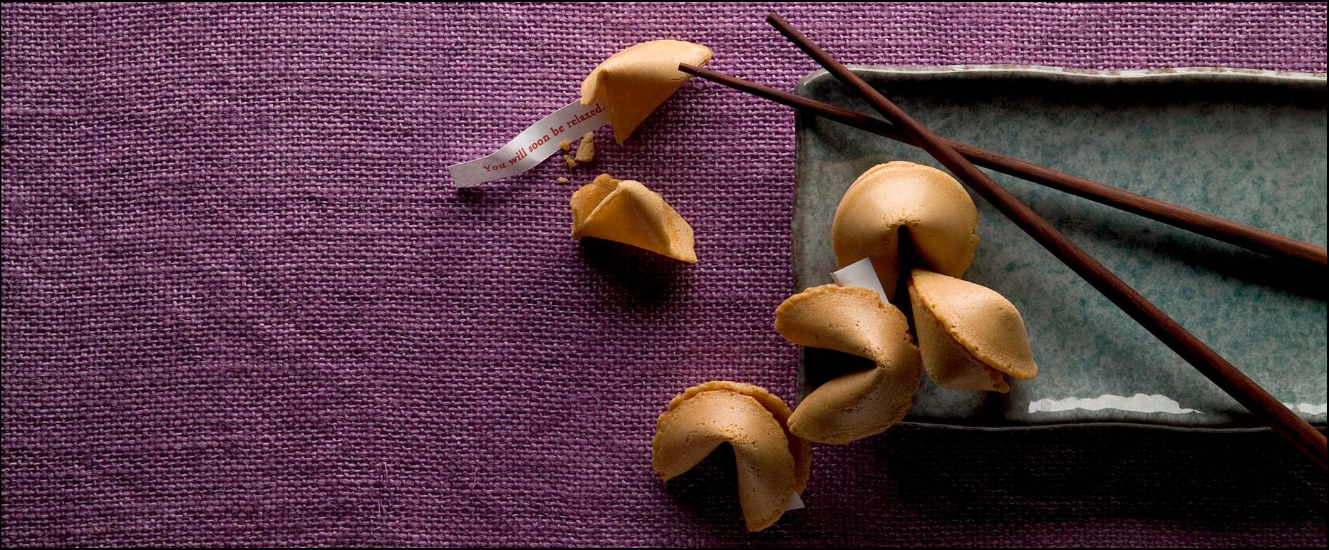 Fortune cookies on a purple background
