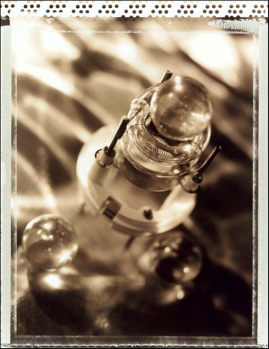Black and white sepia photo of a bulb